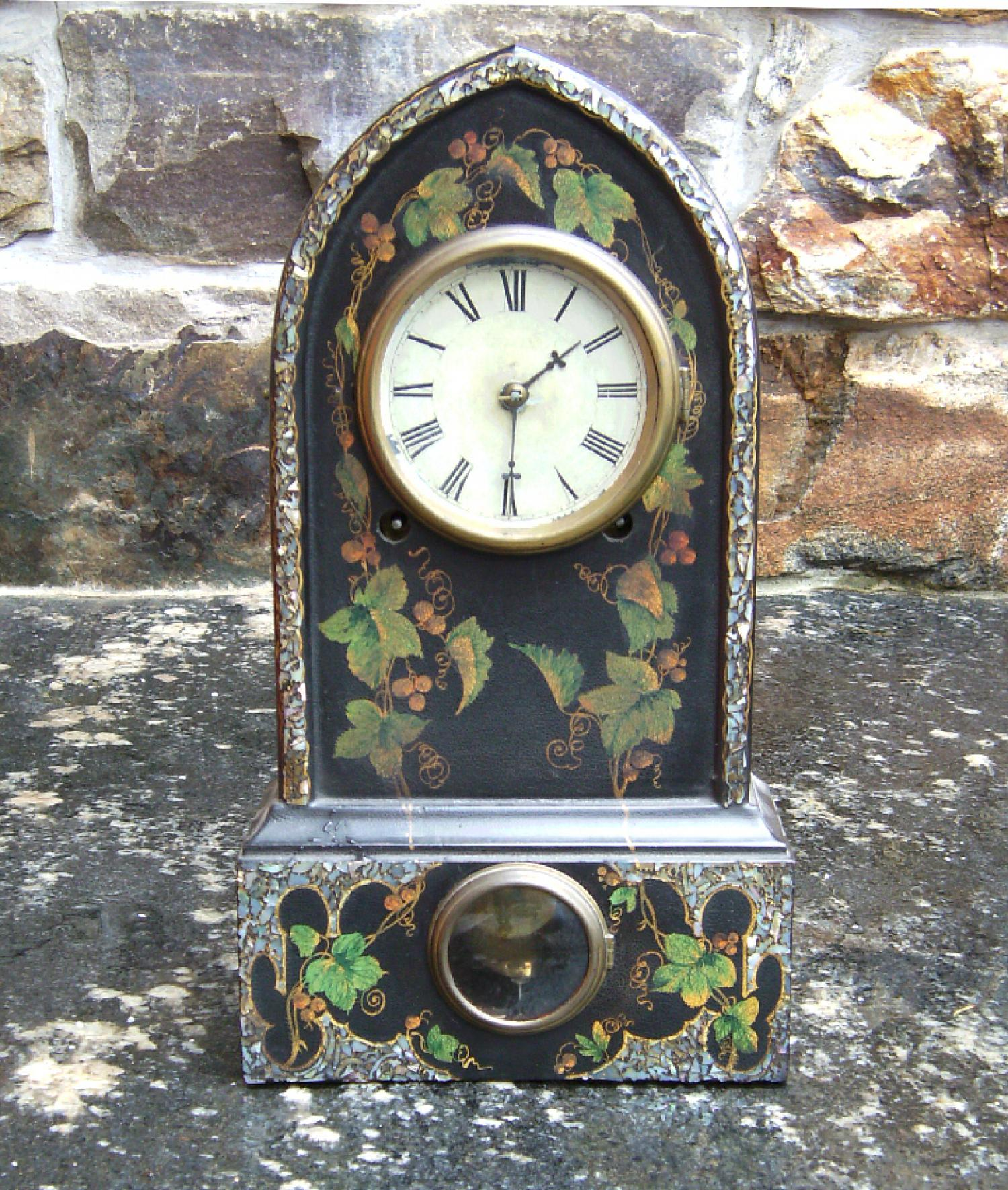 Victorian faux painted cast iron mantle clock c1880