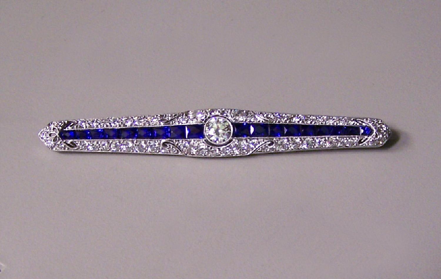 Tiffany Co Platinum blue sapphire diamond brooch bar pin c1920