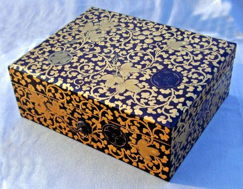 Japanese Edo black lacquered writing document box c1865