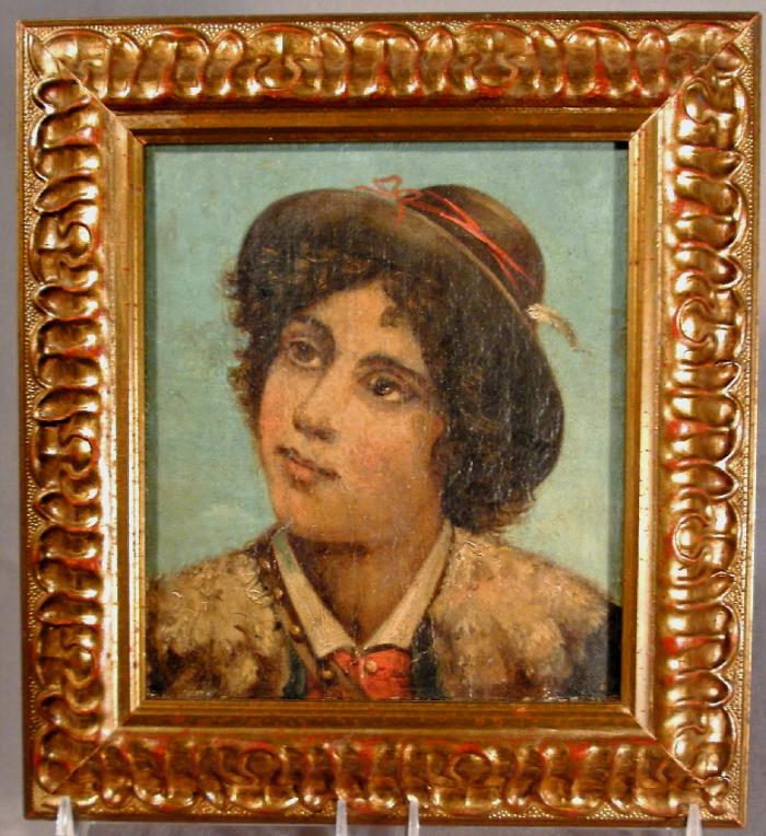 18thc Grand Tour style portrait oil painting of  young shepherd