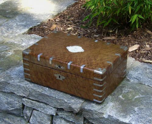 Figured maple document box c1800