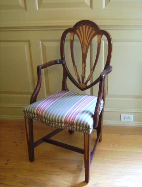 Baker American Federal style inlaid arm chair silk upholstery c1984