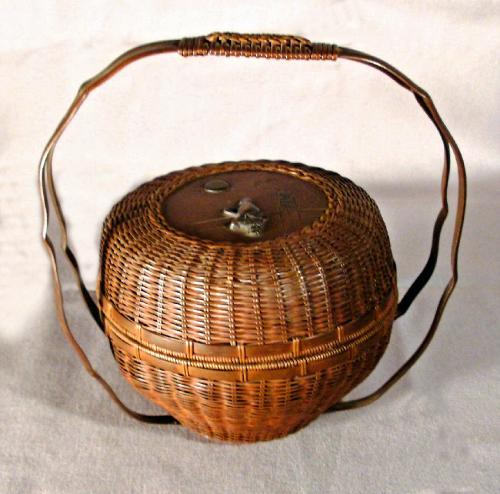 Japanese Meiji period  woven bronze basket