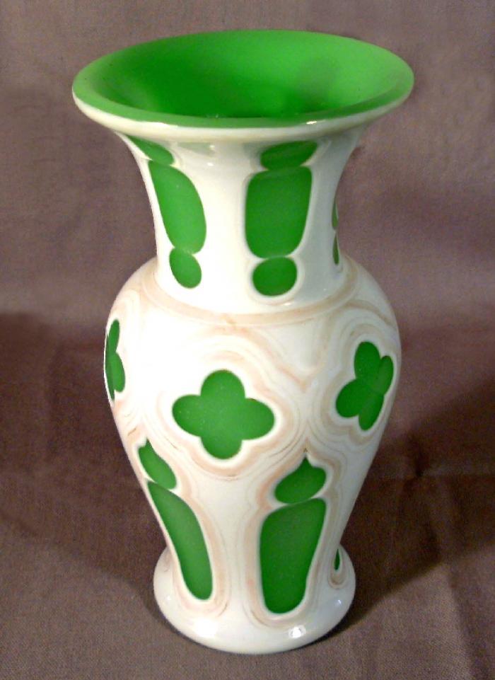 Gothic Revival green opaline milk glass overall vase c1875