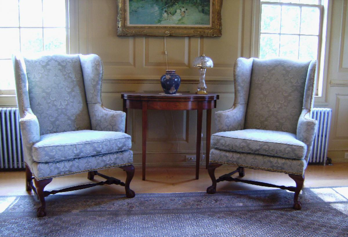 Antique queen anne wingback chair - Pair Baker Museum Reproduction Upholstered Queen Anne Wing Chairs Price My Item Value Of