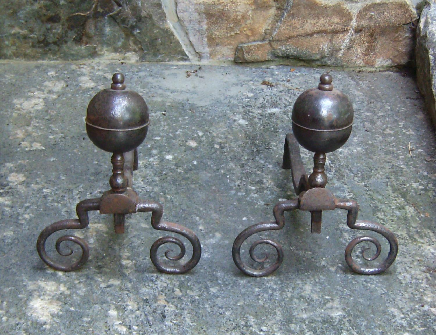 17th century bulbous top hand wrought andirons c1650 to 1690