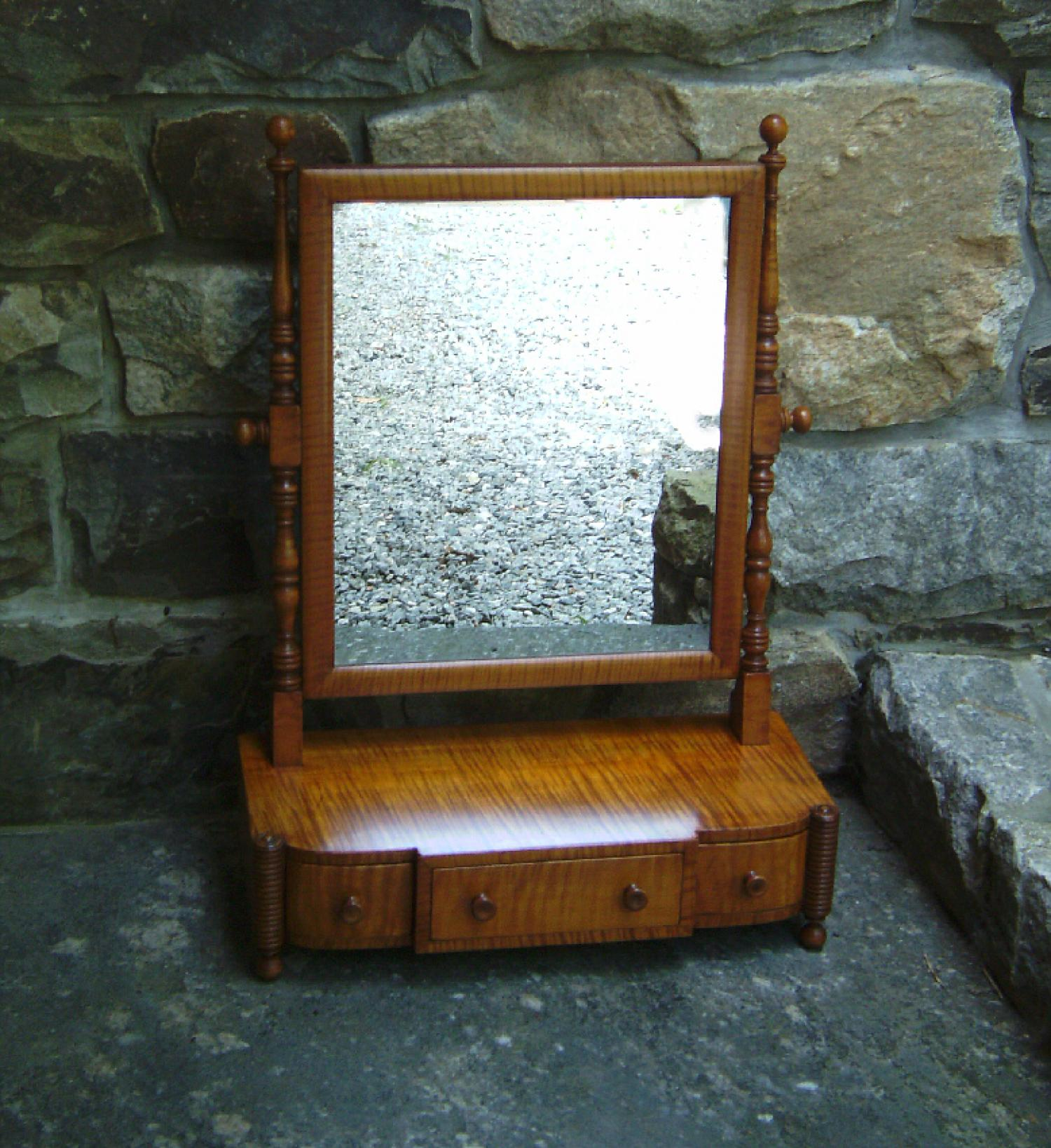 Tiger maple dresser mirror with drawers c1900