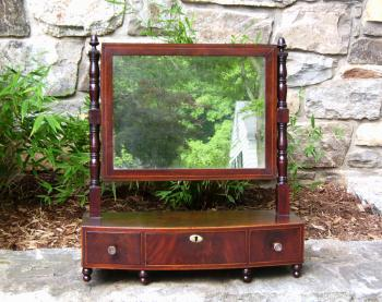 Image of American Sheraton Mahogany dresser mirror with inlay c1825