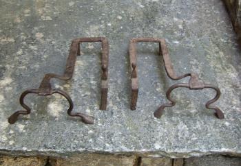 Image of Early Continental low iron andirons c1700