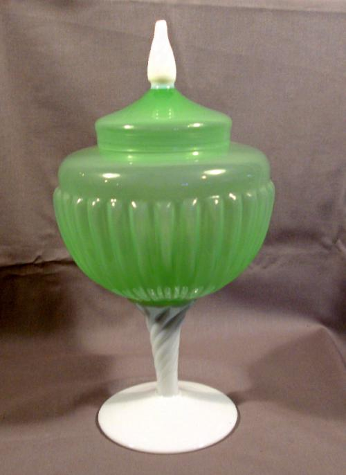 Green opaline glass covered mold blown compote c1880
