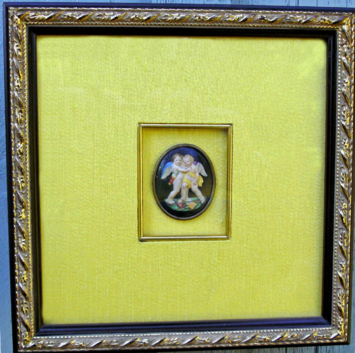 Grand Tour Continental hand painted bisque medallion c1780