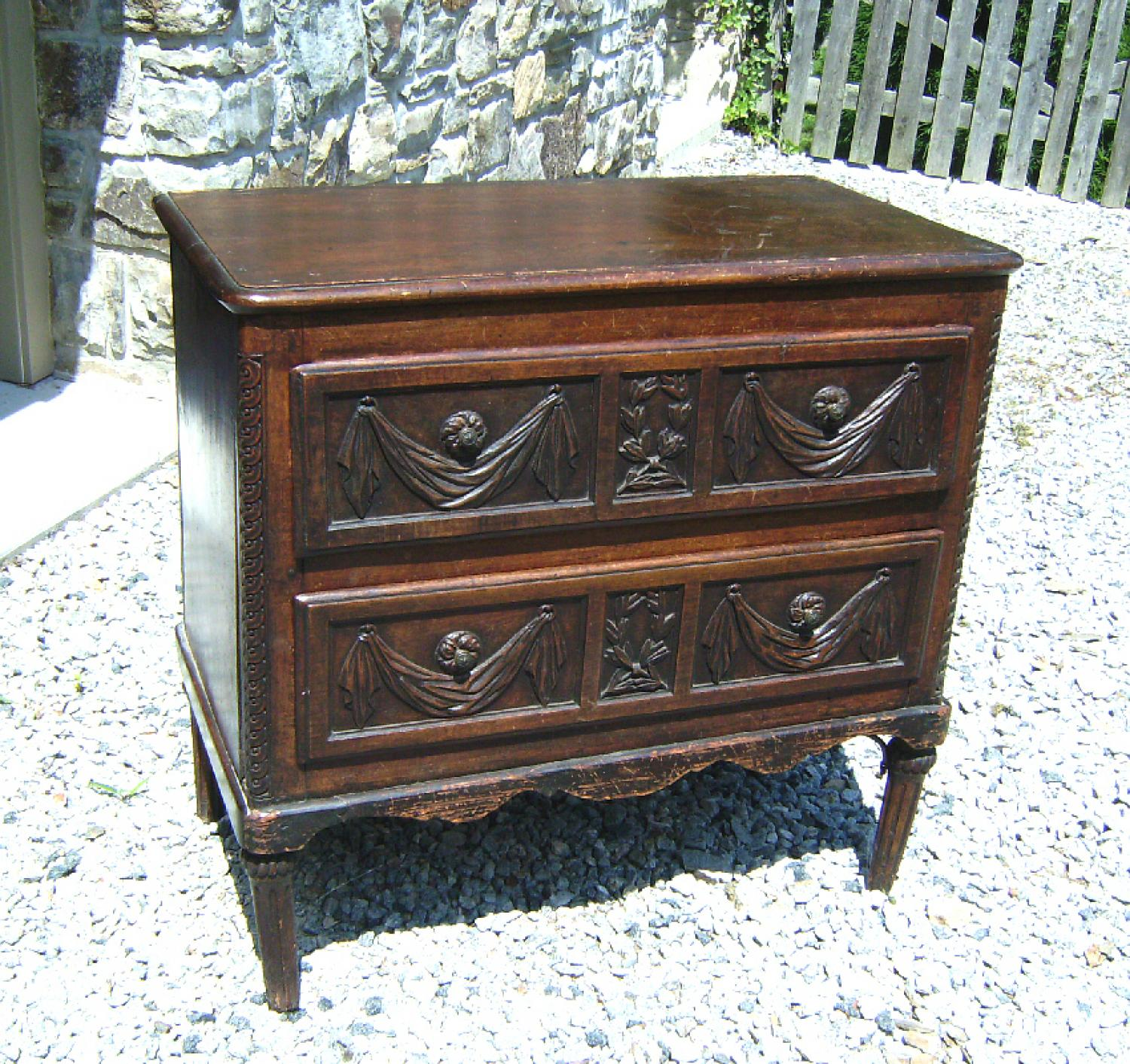 17th century French chest with carved drawer fronts c1680