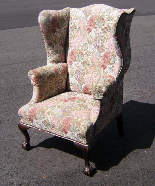 Centennial upholstered wing chair ball and claw feet