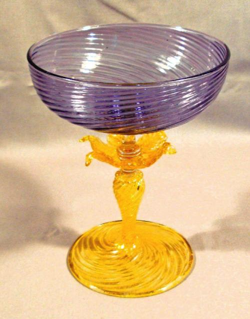 Amethyst color glass compote