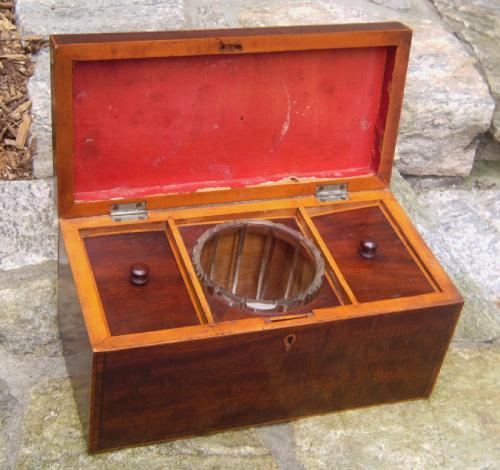 English mahogany inlaid tea box with glass mixing bowl c1800