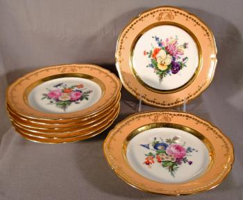 Image of 8 German porcelain dessert plates with the KPM mark