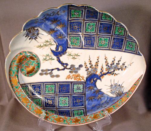 Japanese Imari shell shaped porcelain dish c1890