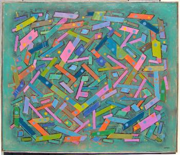Image of George Marinko geometric abstract composition oil painting on canvas