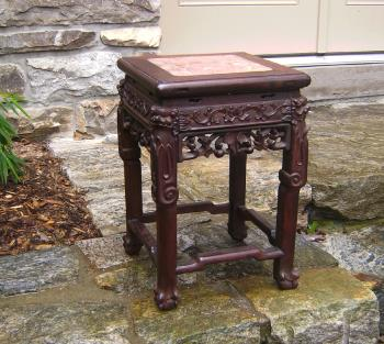 Image of 19th Century Chinese rosewood stand with marble top