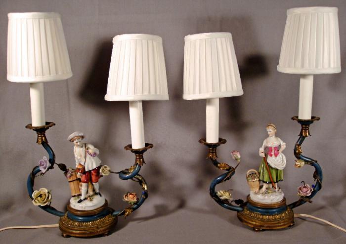 German porcelain figural candelabra lamps c1870