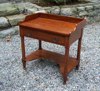 Image of American country Sheraton cherry work table c1830