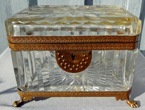Baccarat cut crystal covered bibelot box or casket c1820