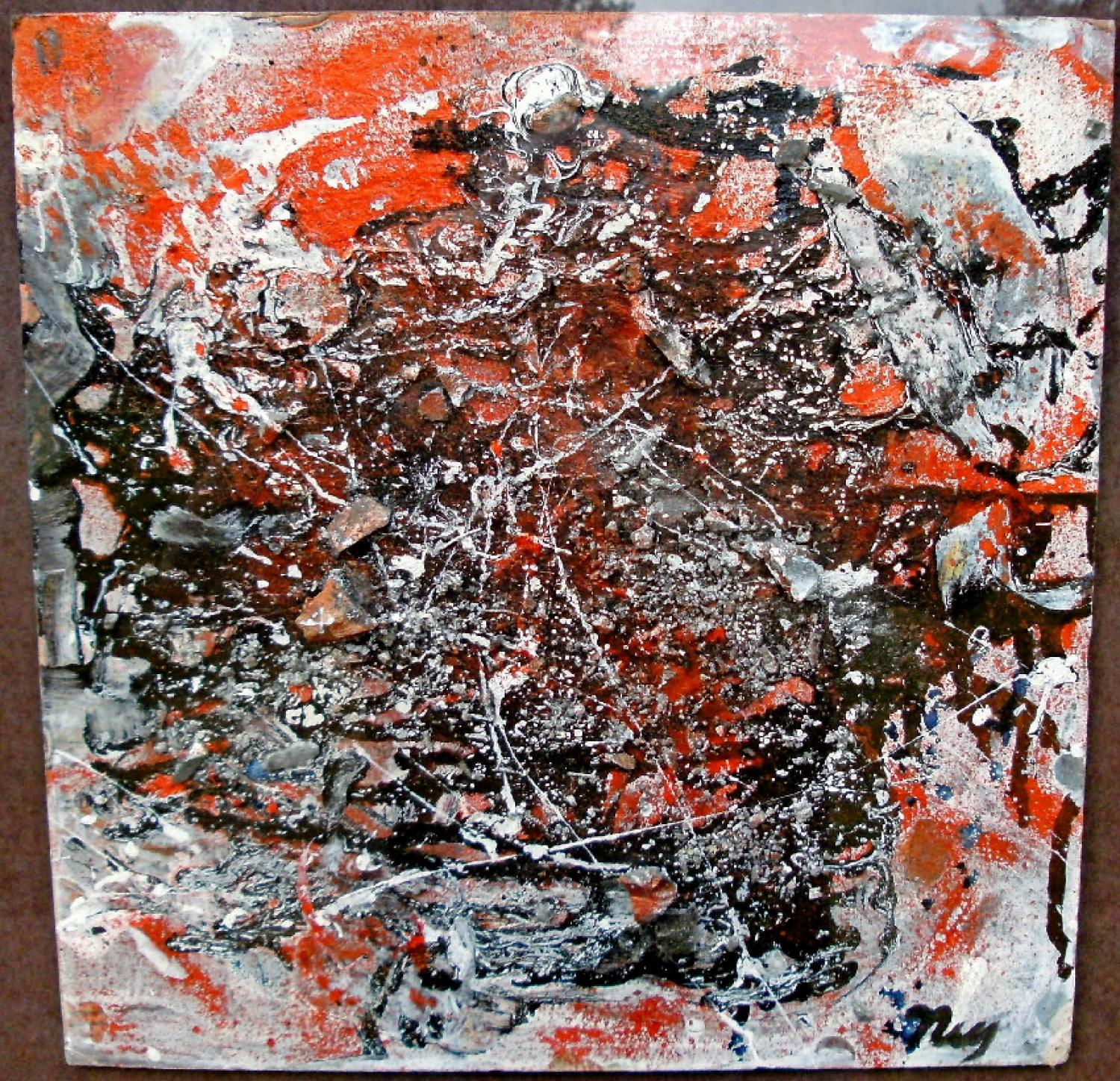 A Llyod R Ney mixed media abstract painting on board c1945