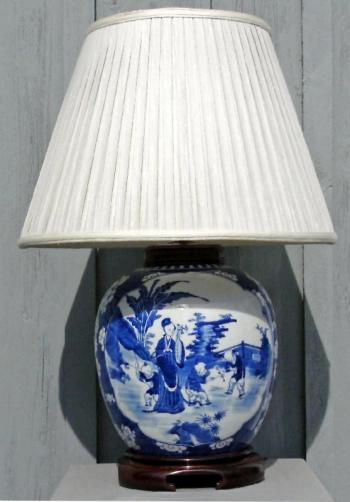 Image of Canton blue and white ginger jar lamp with chinoiserie decoration