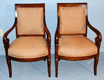 Image of French Empire Charles X open arm chairs or fauteuil c1830