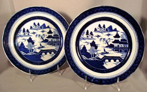 Rare pair of Masons ironstone porcelain plates in Old Canton c1850