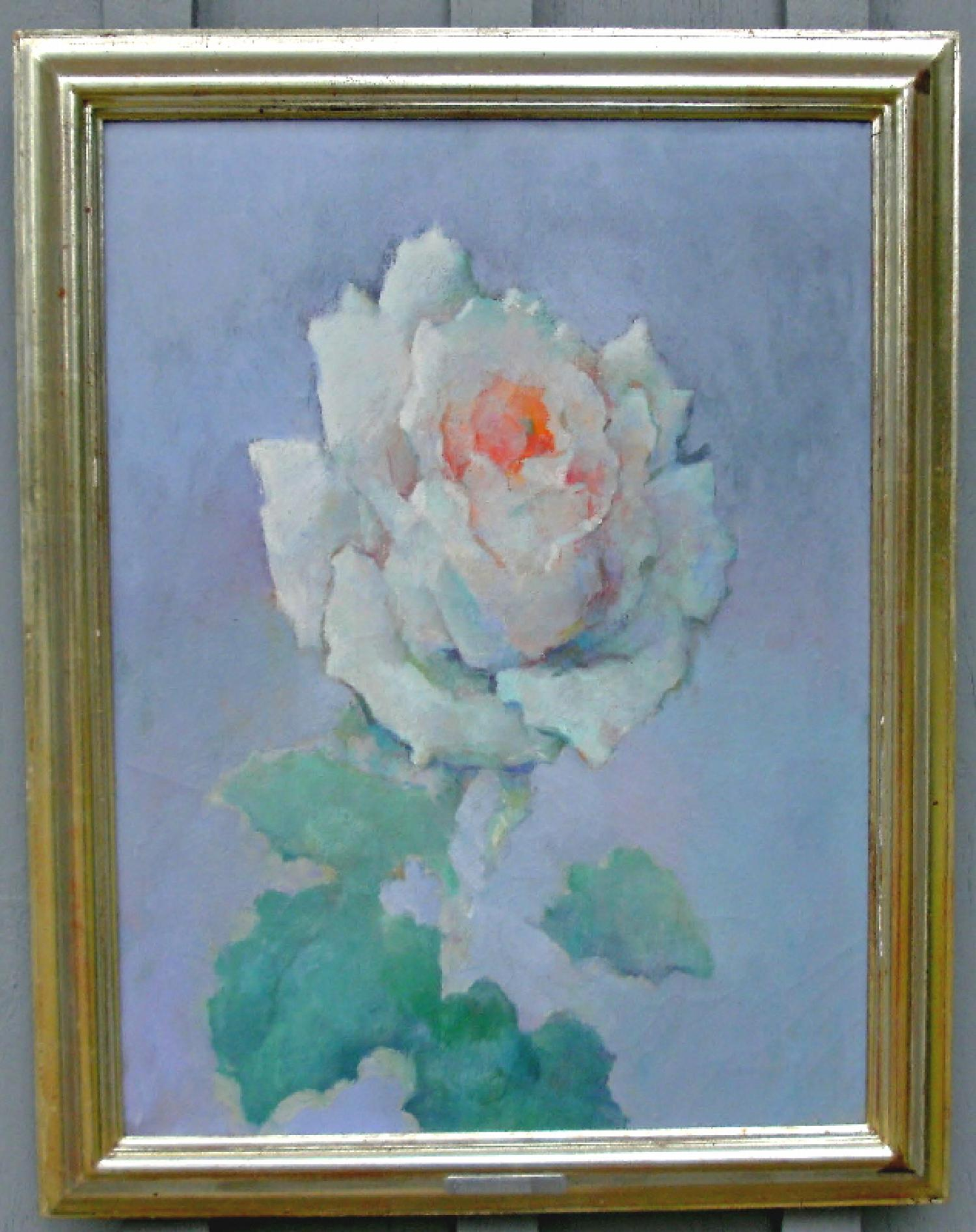 Dimitri Romanovsky oil painting on canvas of a rose c1970