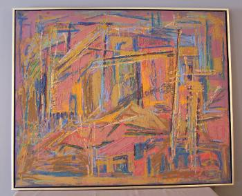 Image of P R Macintosh expressionist abstract oil painting on canvas c1940