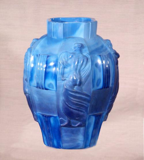 Art Deco blue four figure ground bottom Art Glass Vase