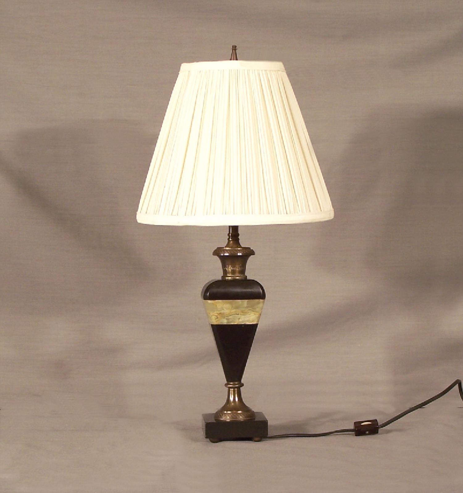 Art Deco black and green alabaster lamp c1920