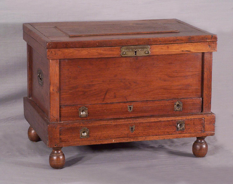 19th century walnut tool chest c1880