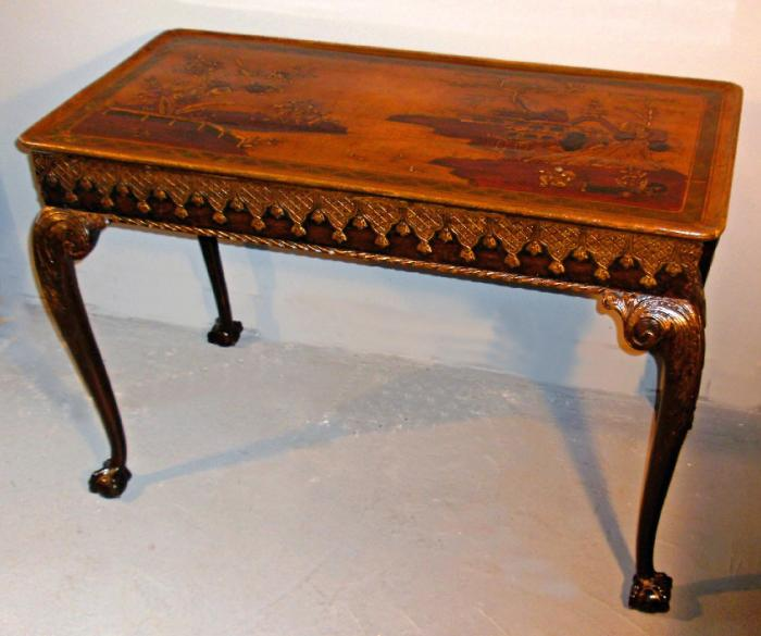 Queen Ann style 19th Century chonoiserie hand painted console