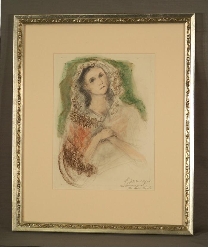 Francisco Domingo Segura mixed media portrait of a woman