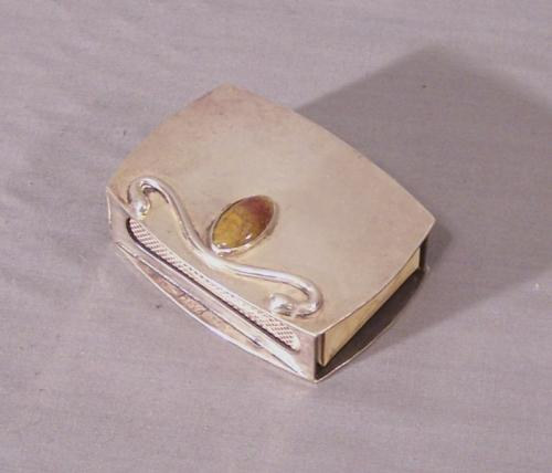 Boyd hammered sterling silver and stone match safe 1951