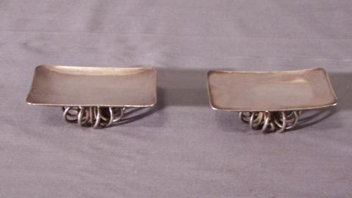 Sterling silver E H ash trays coaster trays on stands