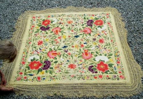 Embroidered Chinese silk bed cover or piano shawl c1920