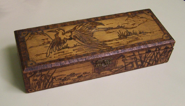 Burnt wood Victorian glove box c1880