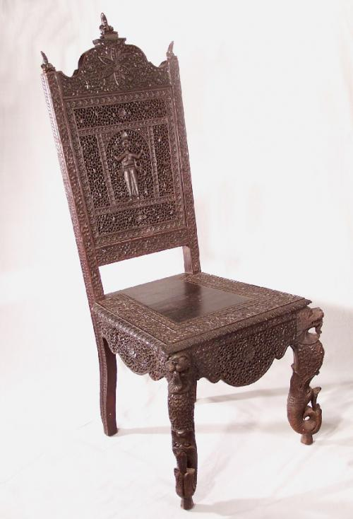 Anglo Indian Bombay hand carved rosewood desk chair c1860