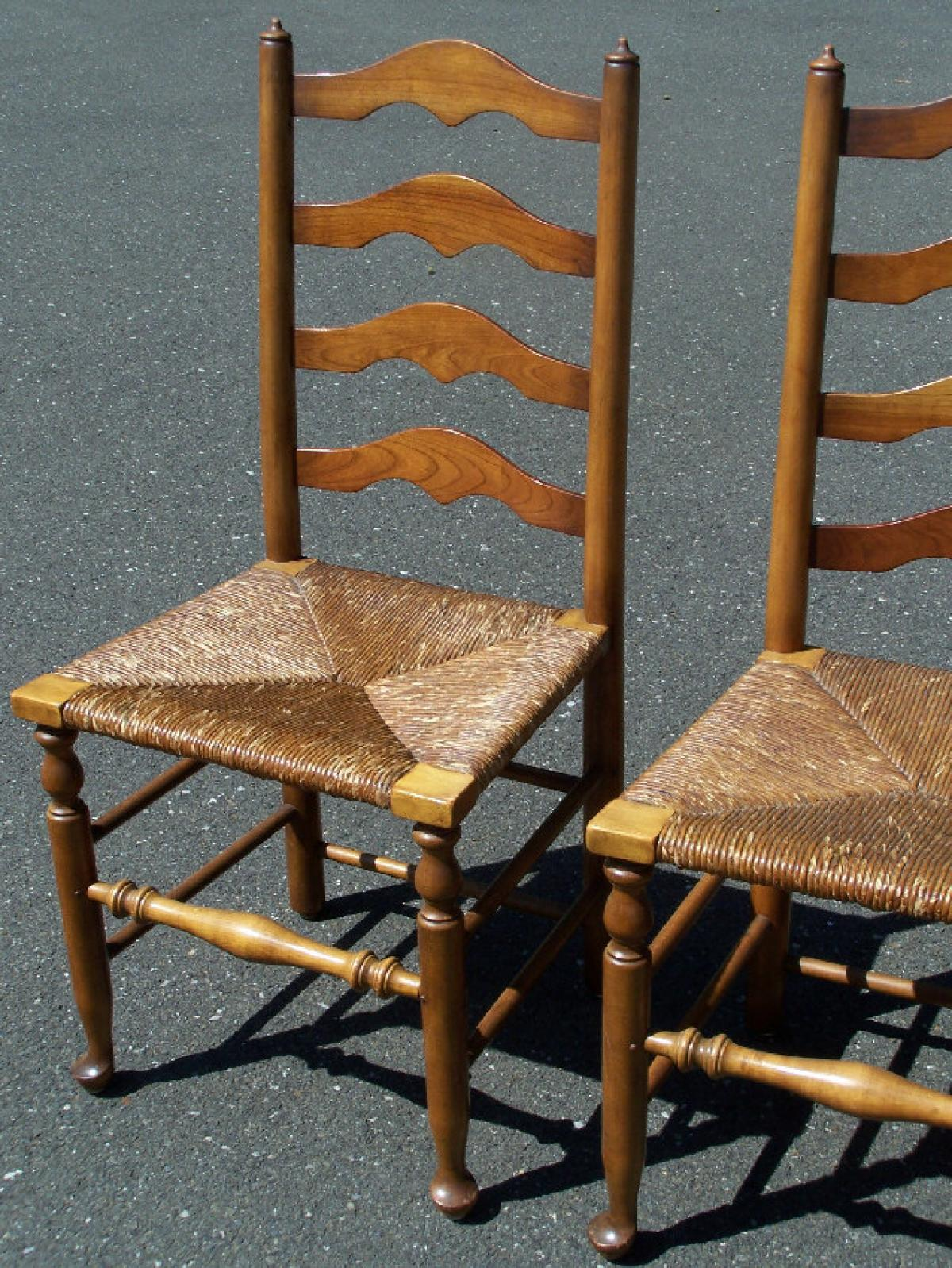 Antique ladderback chairs - Set Of 4 Stickley Ladder Back Maple Chairs With Rush Seats C1956 Antique Ladder Back