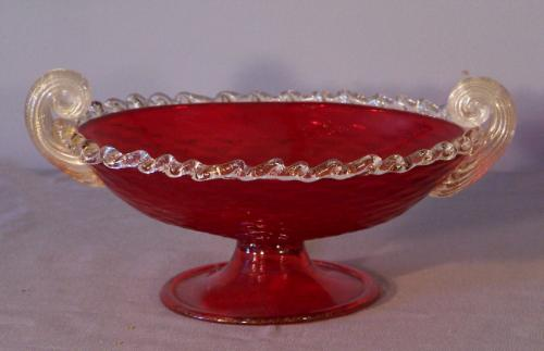 Venetian ruby glass footed oval shape compote c1900