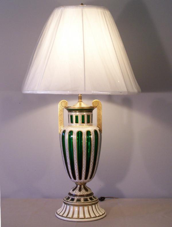 price my item value of 19th c moser emerald green cut crystal and enameled urn lamp. Black Bedroom Furniture Sets. Home Design Ideas