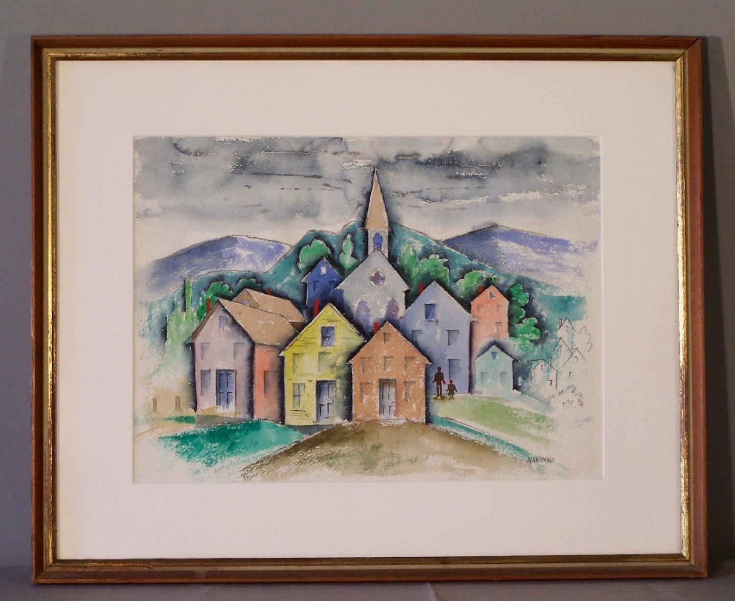 George Marinko cubist absrtact painting landscape on paper c1940