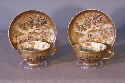 Mejii enameled Japanese Satsuma porcelain cups and saucers