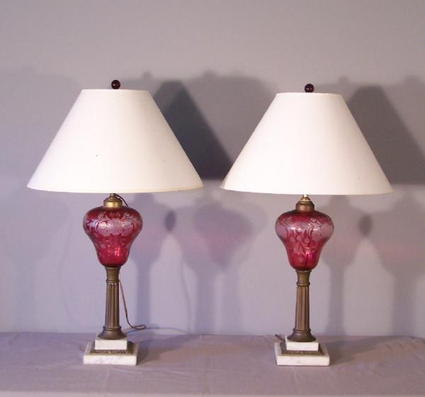 price my item value of pr antique new england etched cranberry glass oil lamps c1880. Black Bedroom Furniture Sets. Home Design Ideas