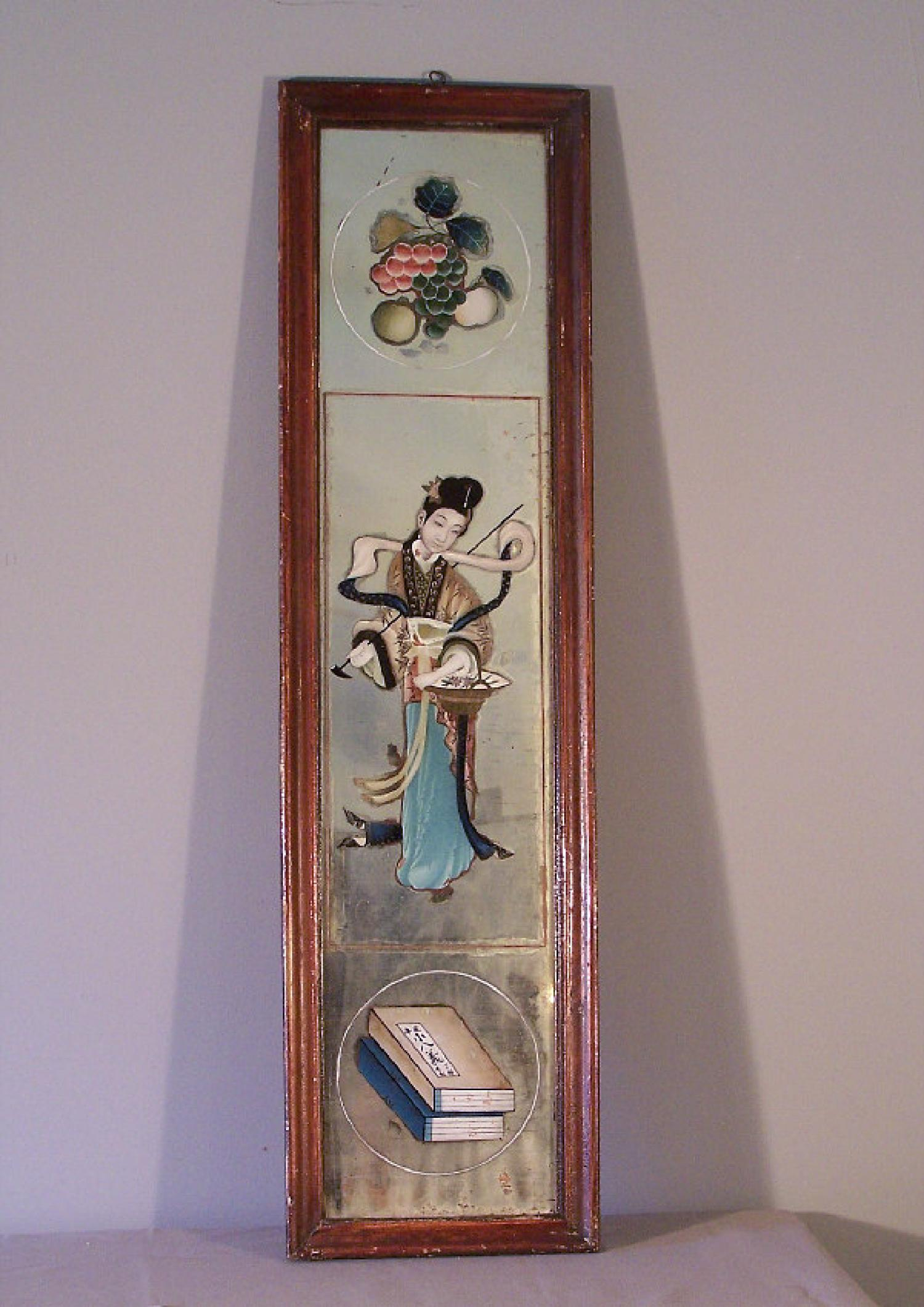 Chinese reverse decorated mirror backed painting c1840