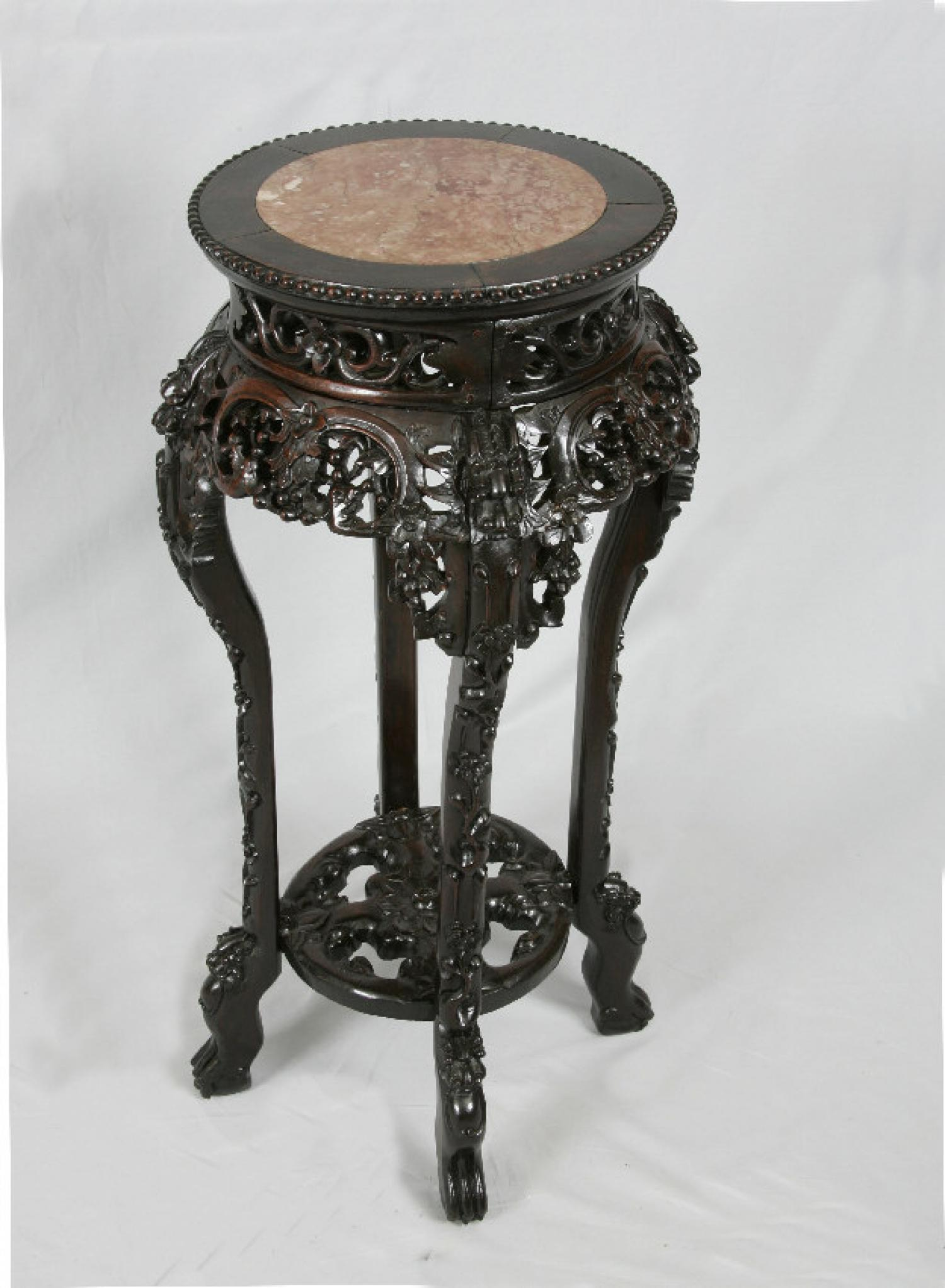 Chinese rosewood plant stand with  inset marble  c1860